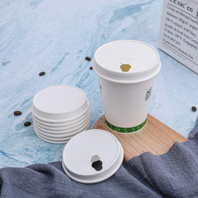 Reusable white paper coffee cup lids