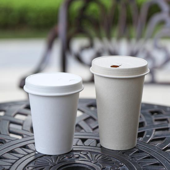 Plain hot paper cup with lid