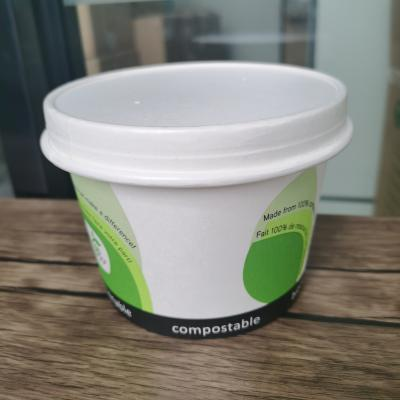 Compostable white paper soup cups with lids